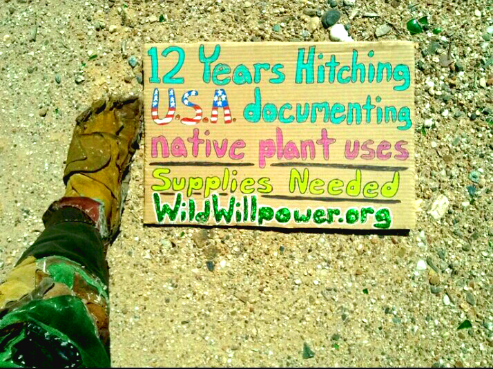 Cardboard Sign 12 Years Hitching USA